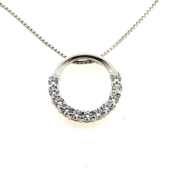 Billede af Classic by Pind halskæde med cirkel sølv rhodineret med zirkonia