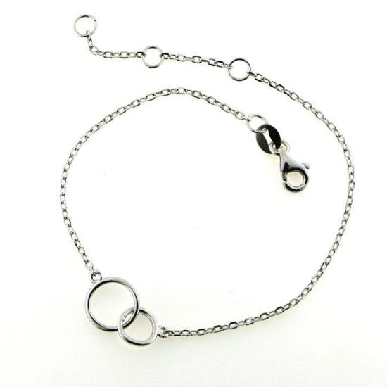 Billede af Classic by Pind armbånd dobbel cirkel sølv rhodineret 16+3cm