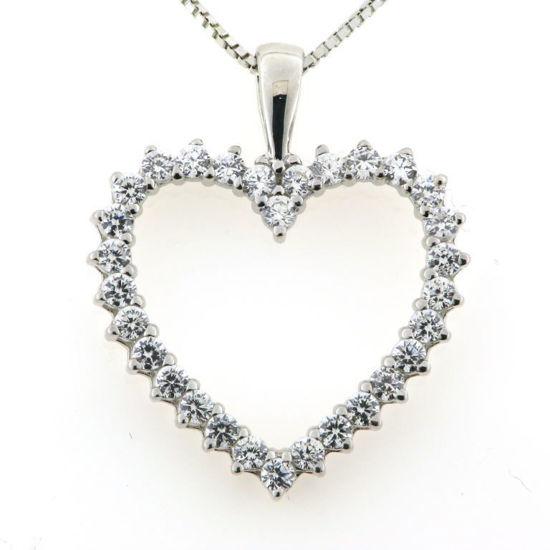 Billede af Classic by Pind halskæde med hjerte sølv rhodineret med zirkonia