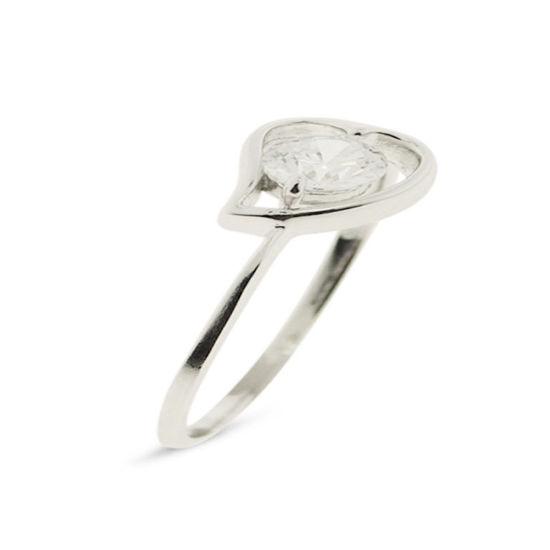 Billede af By Pind ring m hjerte sølv rhd. m. syn.zir str 52