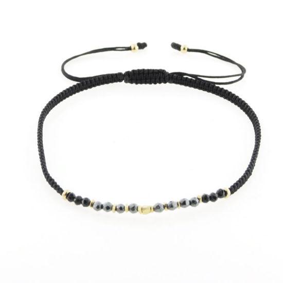 Billede af By Pind Colorful knyttet armbånd sort med hematit sten og sølvfg