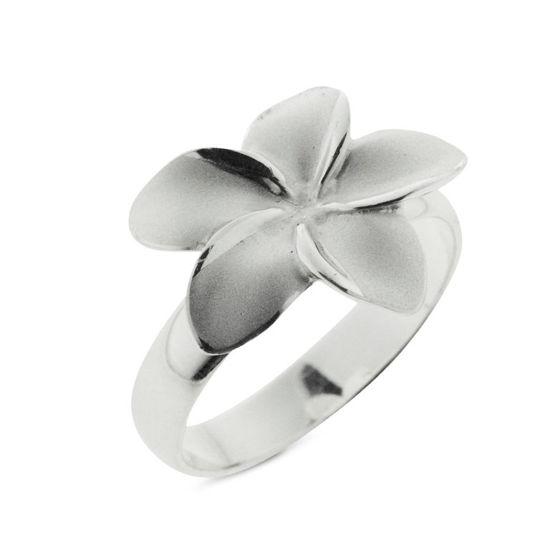 Billede af Classic by Pind ring blomst sølv med sandblæst overflade