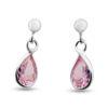 Billede af By Pind sølv ørestik m. dråbeformet pink syn. zir. vedhæng