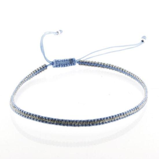 Billede af By Pind Colorful knyttet armbånd lyseblå og sølvfarvet med sølv kugle