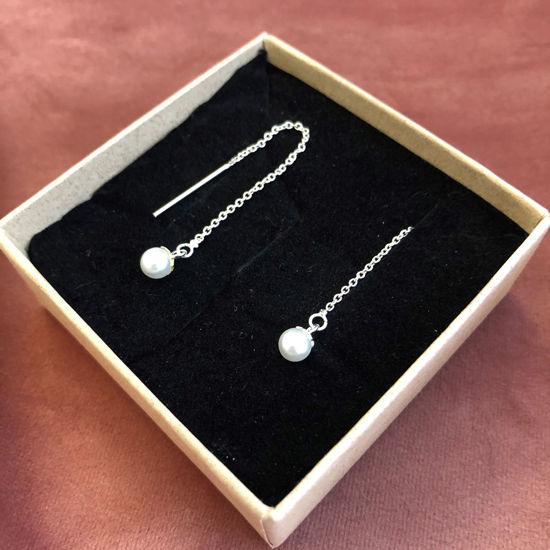 Billede af By Pind ørehænger sølv kæde med hvid perle