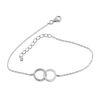 Billede af By Pind armbånd sølv rhodineret dobbelt cirkel én med zirkoniasten
