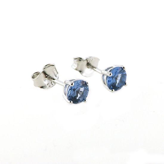 Billede af By Pind ørestik sølv rhodineret med blå topas zirkoniasten