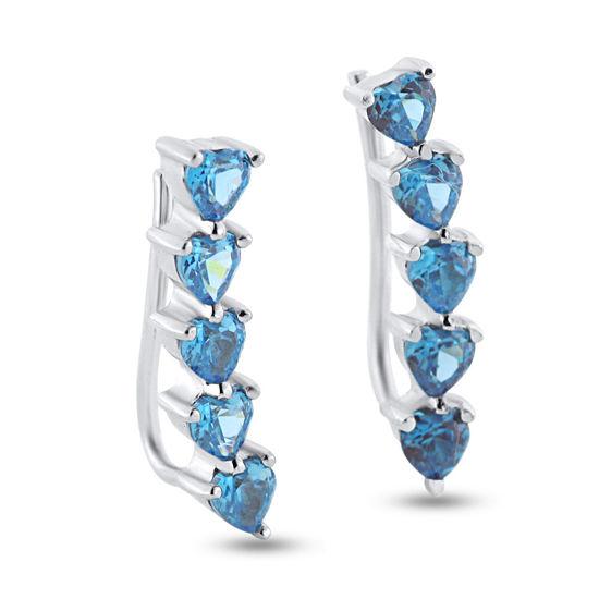 Billede af By Pind earcuff sølv rhodineret med lyseblå zirkoniasten