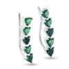 Billede af By Pind earcuff sølv rhodineret med grøn zirkoniasten