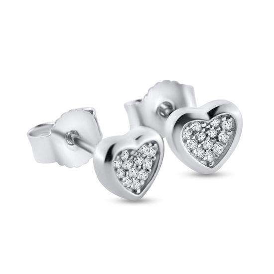 """Billede af By Pind ørestikker sølv  """"Sparkling heart"""" hjerte med zirkoniasten"""