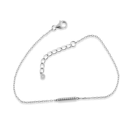Billede af By Pind armbånd sølv rhodineret med paveret stav zirkoniasten