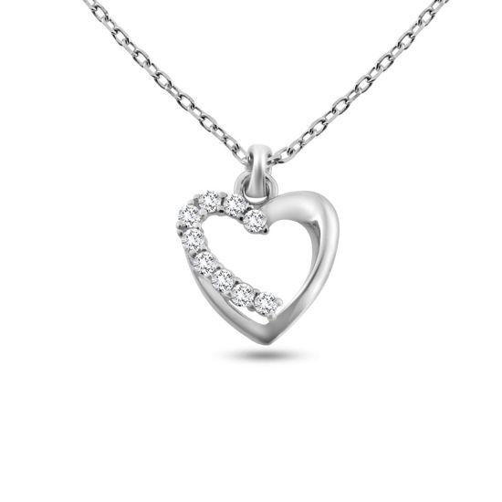 Billede af By Pind halskæde sølv rhodineret med hjerte med zirkoniasten