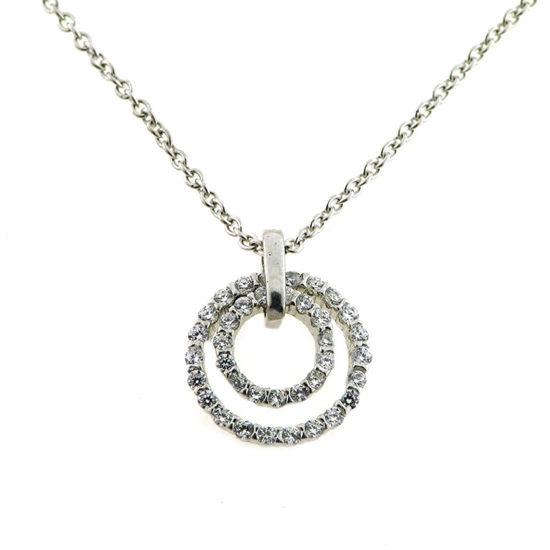 Billede af By Pind halskæde sølv rhodineret vedhæng med zirkoniasten (40,45, 50 cm)