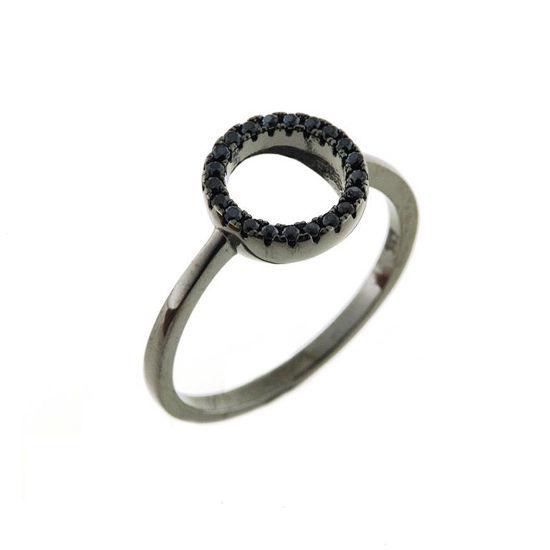 Billede af By Pind ring sølv rhodineret sort med sorte zirkoniasten (str 56)