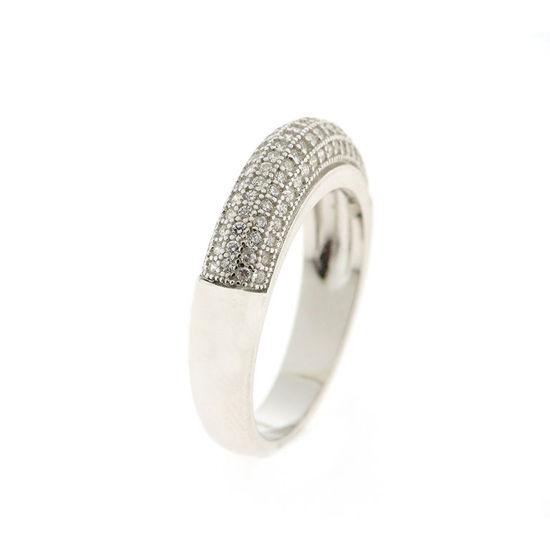 Billede af By Pind ring sølv rhodineret båndring med zirkoniasten (str 58)