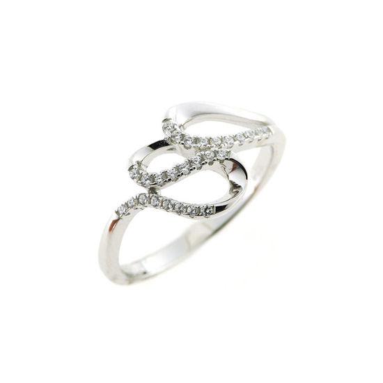 Billede af By Pind ring sølv rhodineret med snoet mønster med zirkoniasten (str 50)