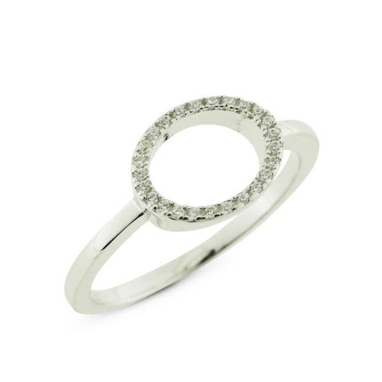 Billede af By Pind ring sølv rhodineret cirkel med zirkoniasten (str 54-56)