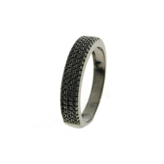 Billede af By Pind ring sølv rhodineret sølv med sorte zirkoniasten (str 54)