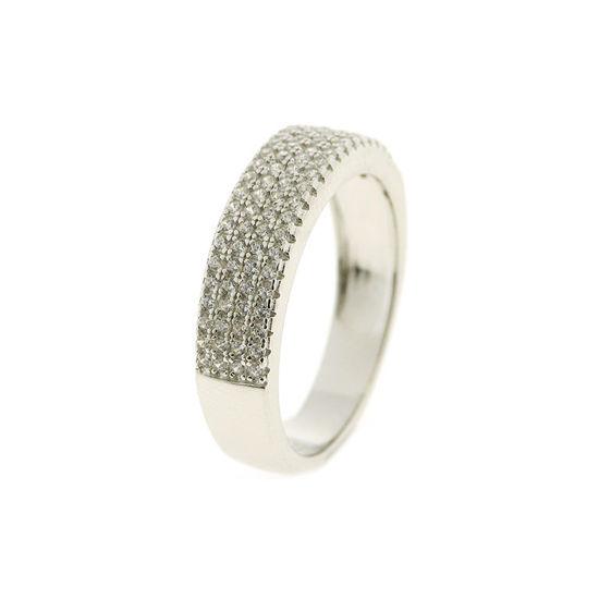 Billede af By Pind ring sølv rhodineret rækkering med zirkoniasten (str 60)