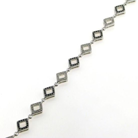 Billede af *By Pind armbånd sølv rhodineret med sorte og hvide zirkoniasten (16,5+3 cm)