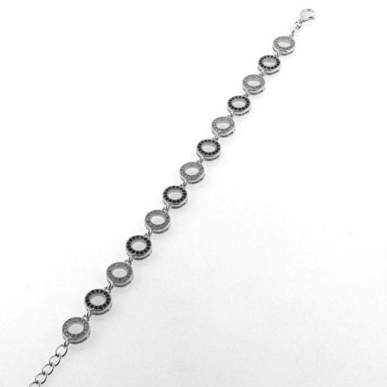 Billede af By Pind armbånd sølv rhodineret cirkler med sorte og hvide zirkoniasten (16,5+3 cm)