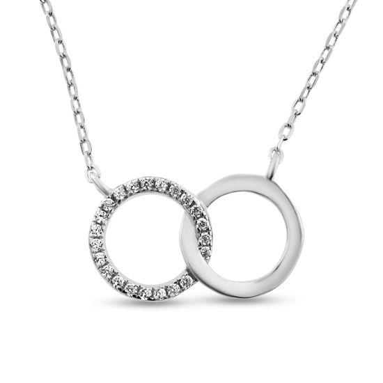 Billede af By Pind halskæde sølv rhodineret dobbeltcirkel den ene med zirkoniasten