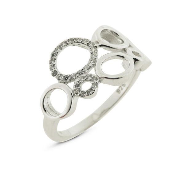 Billede af By Pind ring sølv rhodineret med cirkler med zirkoniasten (str 52-54)