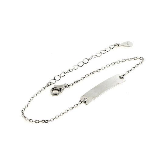 Billede af By Pind armbånd sølv rhodineret med plade vedhæng (15-19 cm)