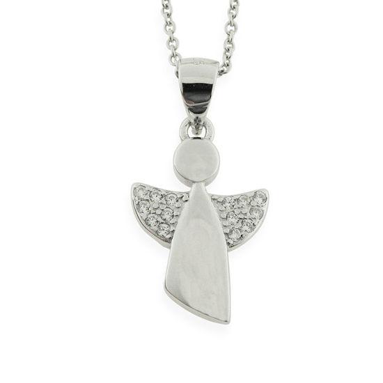 Billede af By Pind halskæde sølv rhodineret med enkel vedhæng med zirkoniasten (40-50 cm)