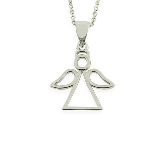 Billede af By Pind halskæde sølv rhodineret engel vedhæng (40-50 cm)