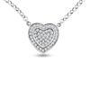 Billede af By Pind halskæde sølv rhodineret med paveret hjerte vedhæng (41+5 cm)