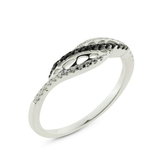 Billede af *By Pind ring sølv rhodineret med zirkoniasten sorte og hvide str. 57