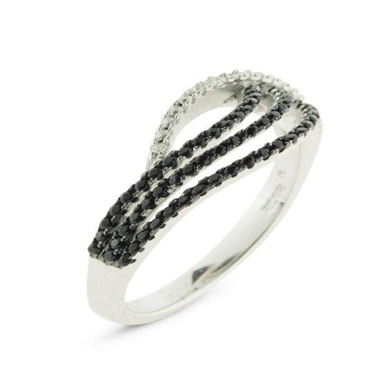 Billede af By Pind ring sølv rhodineret med sorte og klare zirkonia (str 54-59)
