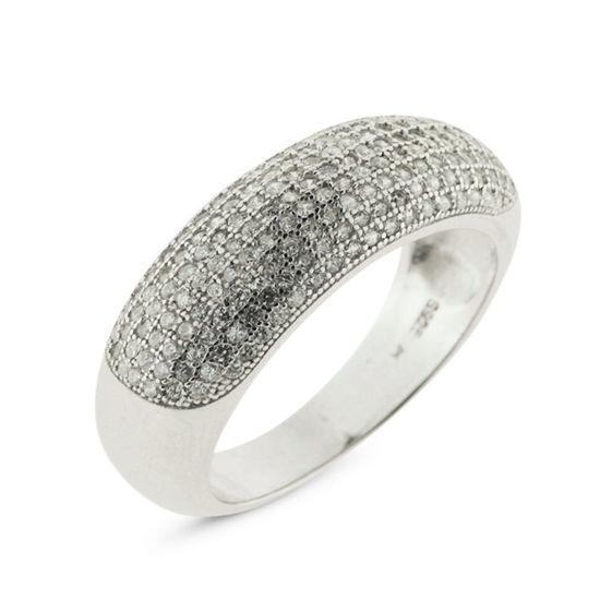 Billede af By Pind ring sølv rhodineret med hvide zirkonia sten (Str 57)