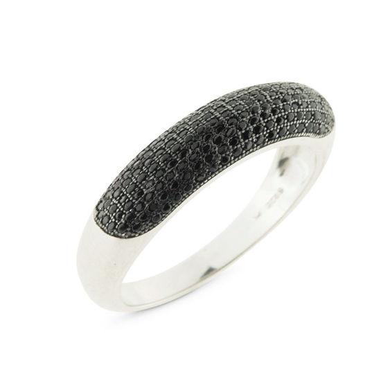 Billede af *By Pind ring sølv rhodineret med sorte zirkoniasten str. 54