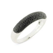 Billede af Ring Black & White sølv rhd. med syn.zir  sorte str. 60
