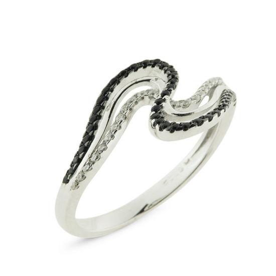 Billede af By Pind ring sølv rhodineret med sorte og hvide syntetiske zirkonia sten (str 48-60)
