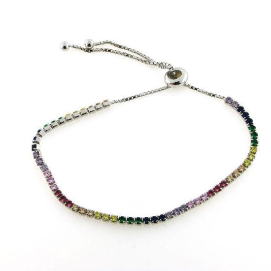 """Billede af By Pind tennisarmbånd sølv rhodineret """"Rainbow"""" farvede zirkoniasten"""