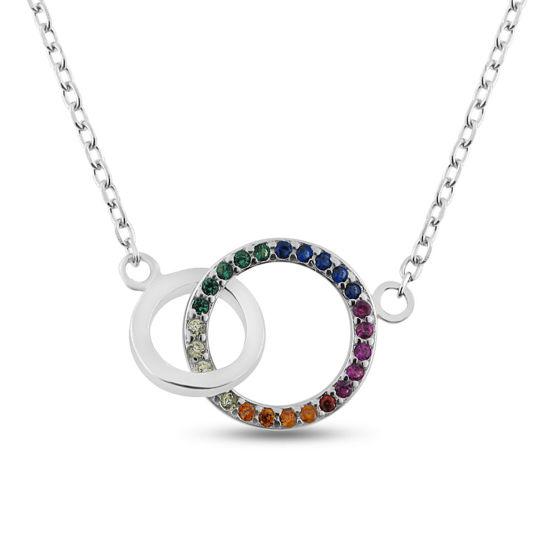 Billede af By Pind Colorful halskæde sølv rhodineret dobbelt cirkel med farvede zirkoniasten