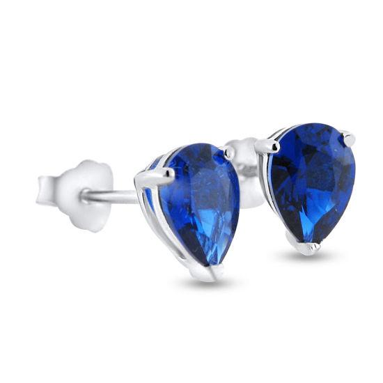 Billede af By Pind ørestikker sølv rhod. blå zirkonia