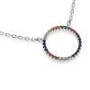 Billede af By Pind Colorful halskæde sølv cirkel farvede zirkoniasten