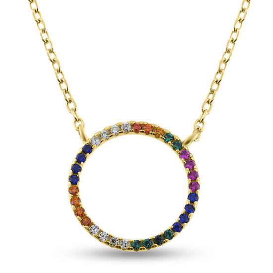 """Billede af By Pind """"Colorful cirkel"""" halskæde sølvforgyldt"""