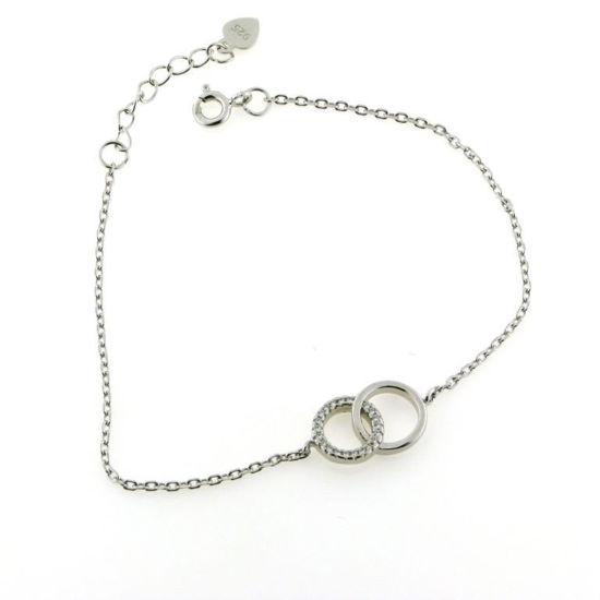Billede af By Pind armbånd med dobbeltcirkel sølv rh.