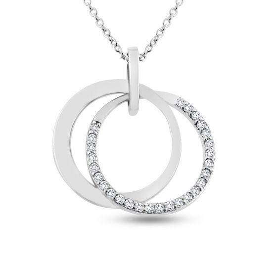 Billede af By Pind halskæde sølv rhodineret med dobbelt cirkel én af zirkoniasten