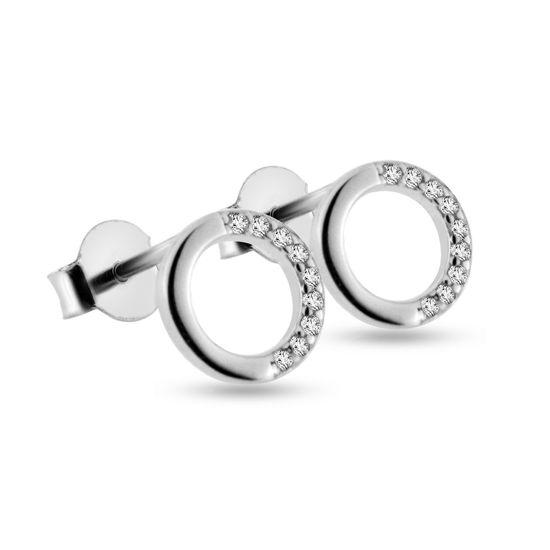 Billede af By Pind ørestikker sølv rhodineret cirkel med halvcirkel af zirkoniasten