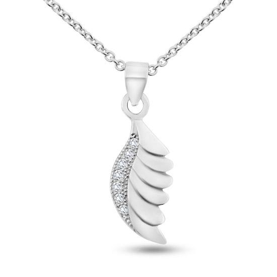 Billede af By Pind halskæde sølv rhodineret med fjer vedhæng med zirkonia sten (45 cm)
