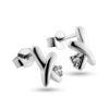 Billede af By Pind Sæt halskæde og ørestik sølv rhodineret med kryds og zirkoniasten