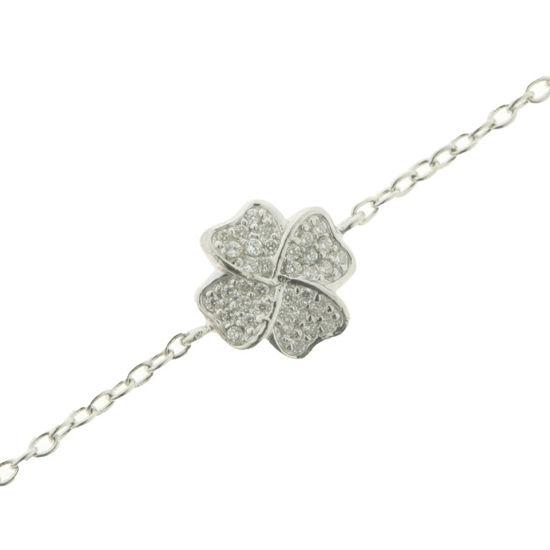 Billede af By Pind armbånd sølv rhodineret med hjertefirkløver med zirkonia sten med rund anker kæde (18+1 cm)