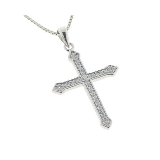 Billede af By Pind halskæde sølv rhodineret med kors med zirkonia sten (40,45 eller 50 cm)