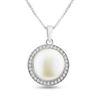 Billede af By Pind halskæde sølv rhodineret med ferskvandsperle og zirkonia sten med venizia kæde (40, 45 eller 50 cm)